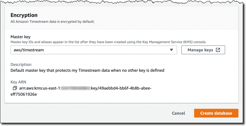 amazon timestream create database encryption 1