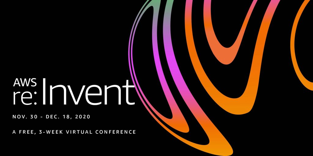 re:invent announcement image with spiral colors and the date - November 30 to Dec 18