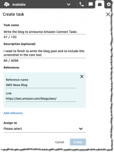 Create a task uisng Amazon Connect Tasks