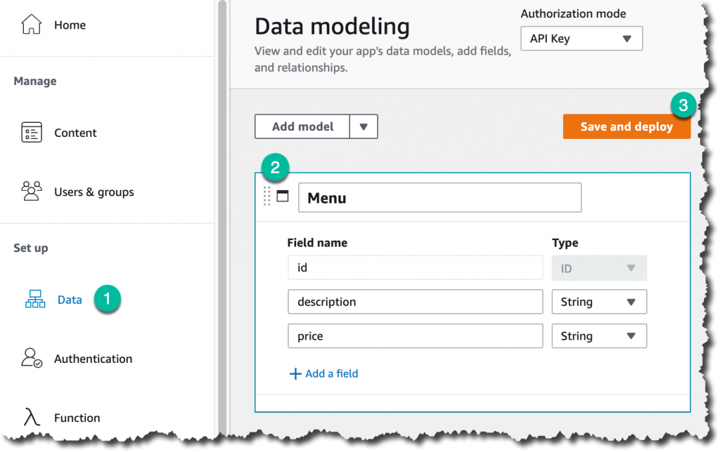 Screenshot for data modeling