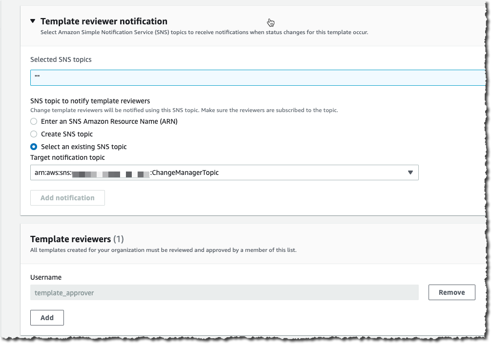 Change Manager Template Reviewers