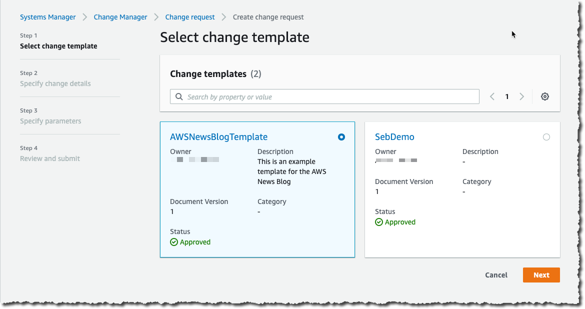 Change Manager Select Template