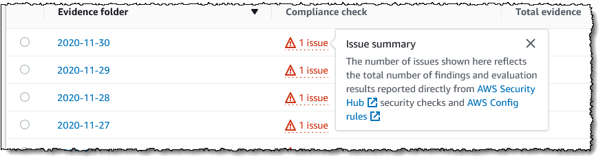 Screenshot of issue summary