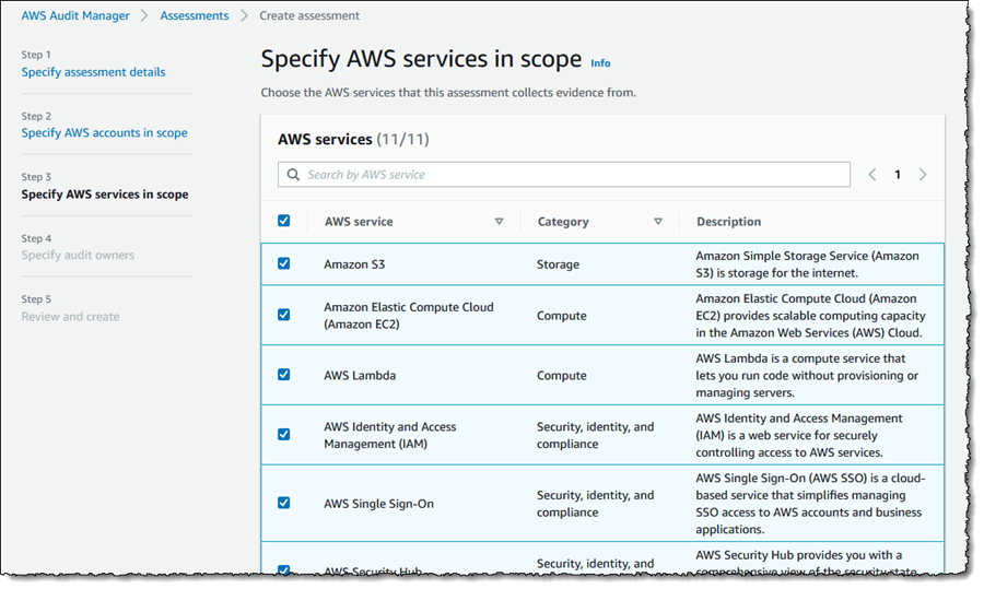 Screenshot of service selection for assessment