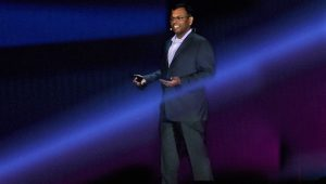 Swami Sivasubramanian speaks on stage at AWS re:Invent