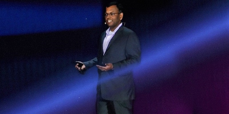 Amazon Vice President of Machine LearningSwami Sivasubramanian speaks on stage at re:Invent.