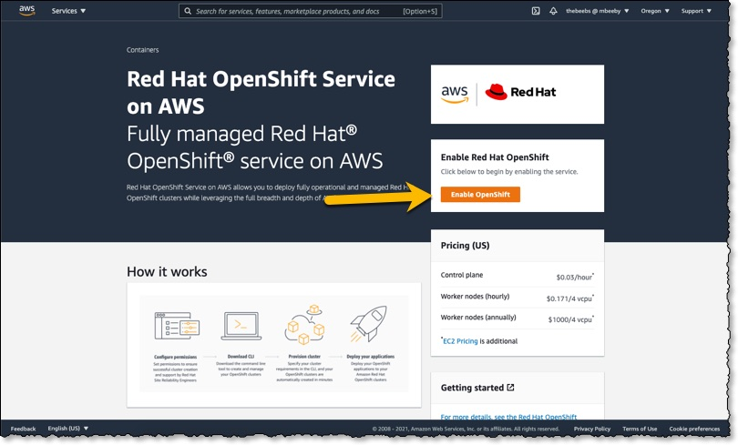 Screenshot of Red Hat OpenShift Console