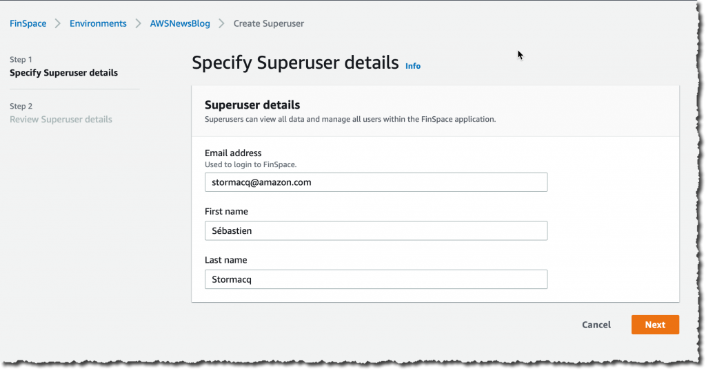 Finspace create super user 2