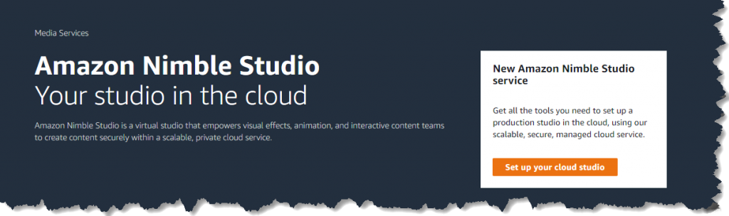 screenshot of the intro of nimble studio