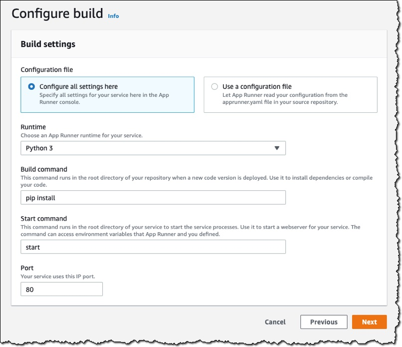 Screenshot of the Configure build section of the console