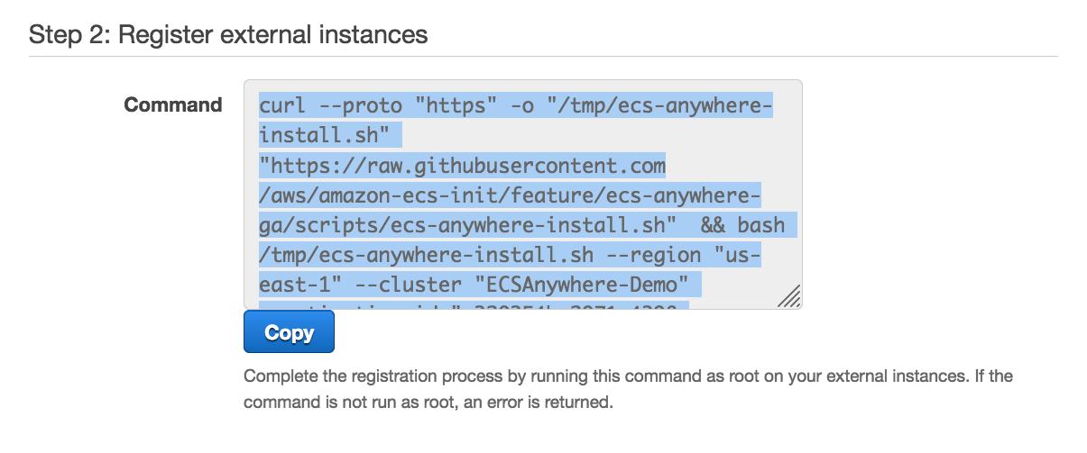 2021 ecs anywhere 2 Register External Instances 2