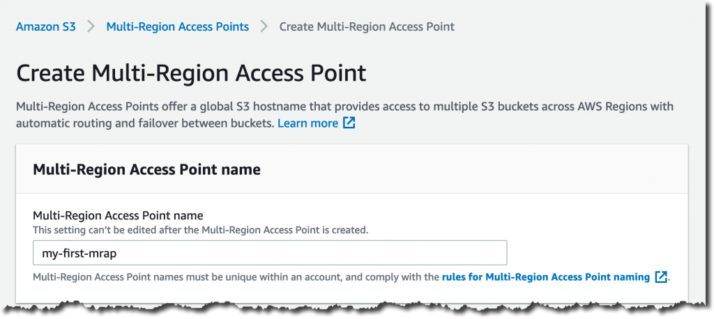 Creating a multi-region access point