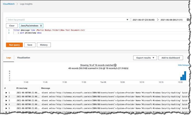 Screenshot of AWS CloudWatch Logs Insights