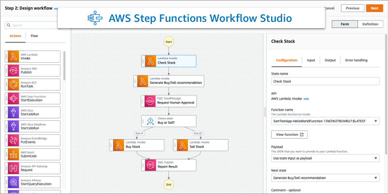 New – AWS Step Functions Workflow Studio – A Low-Code Visual Tool for Building State Machines | Amazon Web Services