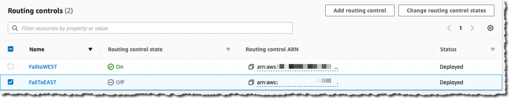 Changing routing control states