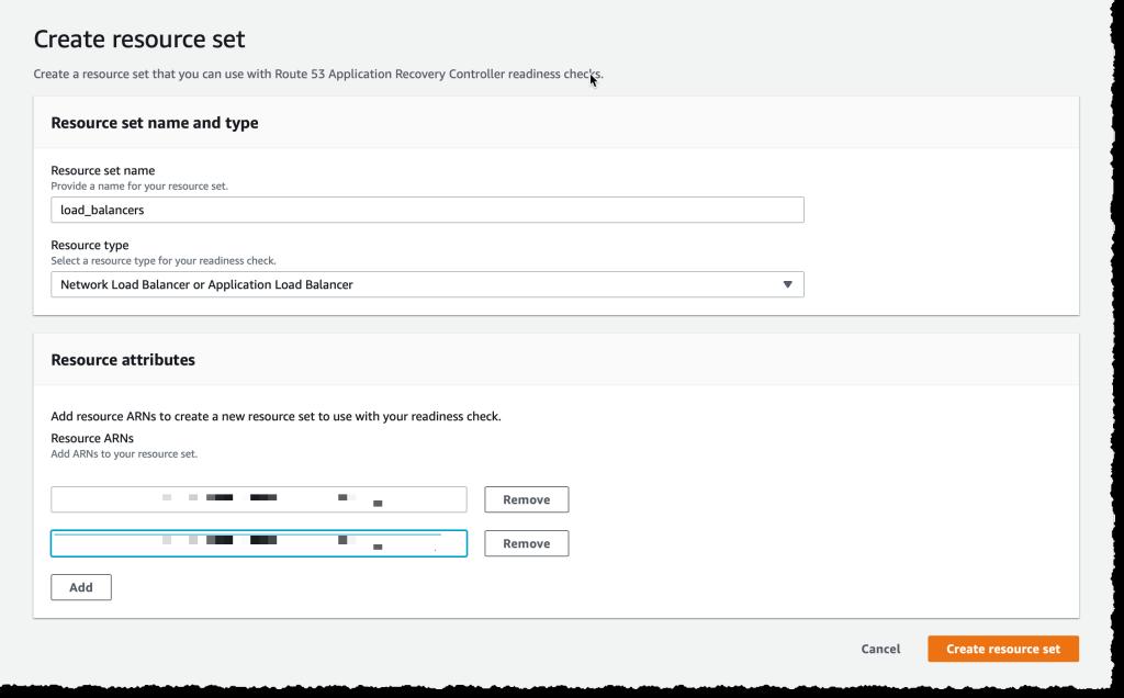 Create Resource Set - load balancers