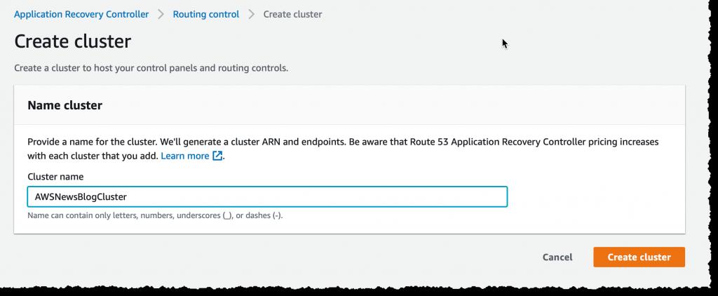 Create Cluster - enter name