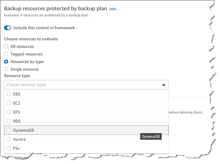 Backup resources protected by backup plan control resource selection
