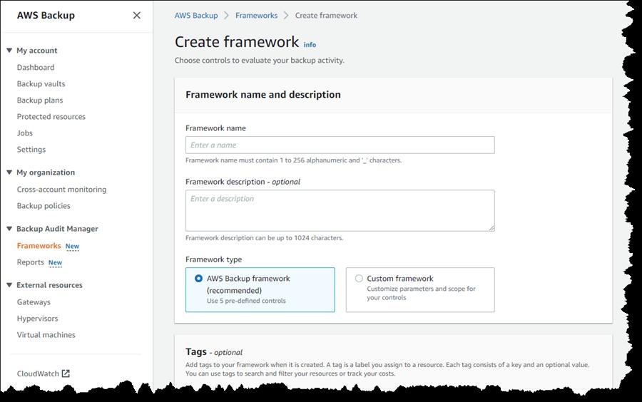 创建 AWS Backup Audit Manager 框架