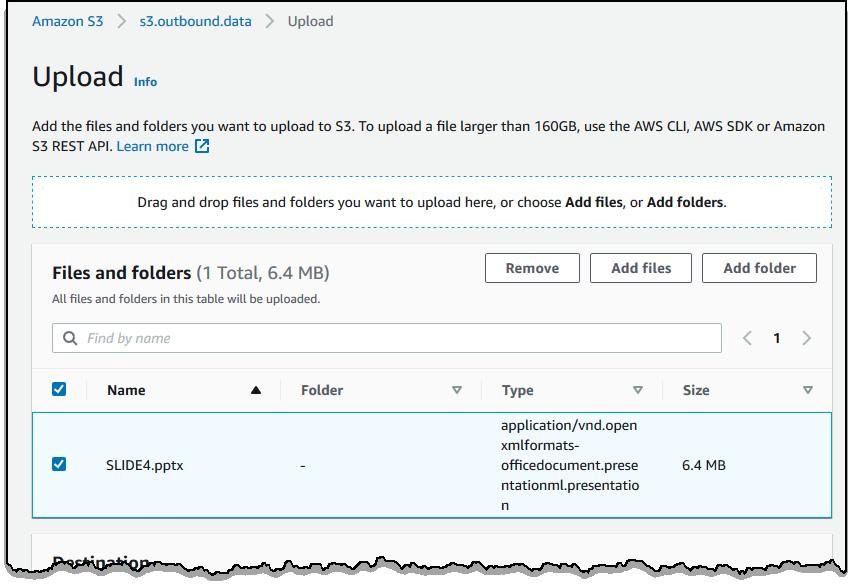 屏幕截图显示将文件上载到 S3 存储桶。