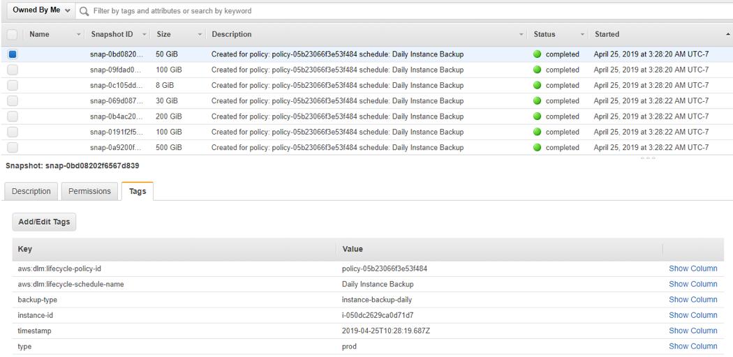 Taking crash-consistent snapshots across multiple Amazon EBS