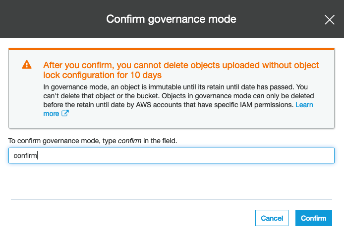 On the next screen after enabling governance mode you must confirm your choice.