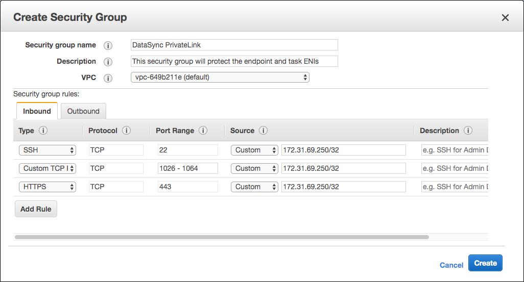 3. プライベート IP への正しいアクセスを保証するセキュリティグループを作成します。