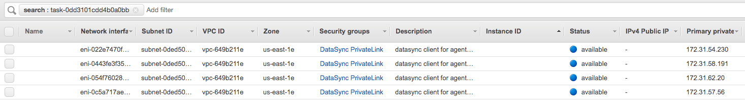 Network Interfaces tab in Amazon EC2 Console