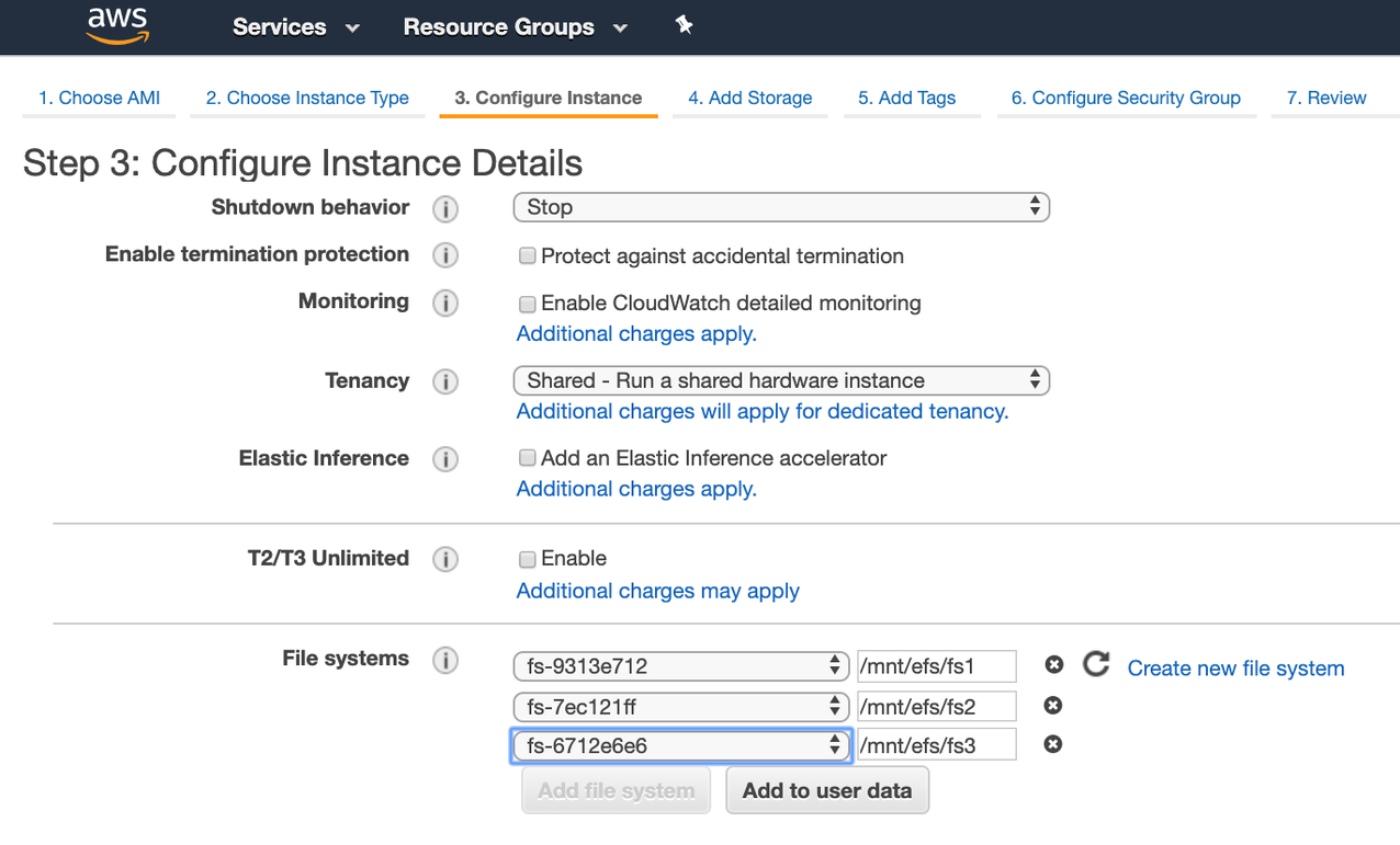 Ec2 Launch Instance Wizard - step 3 configure instance details (middle of page)