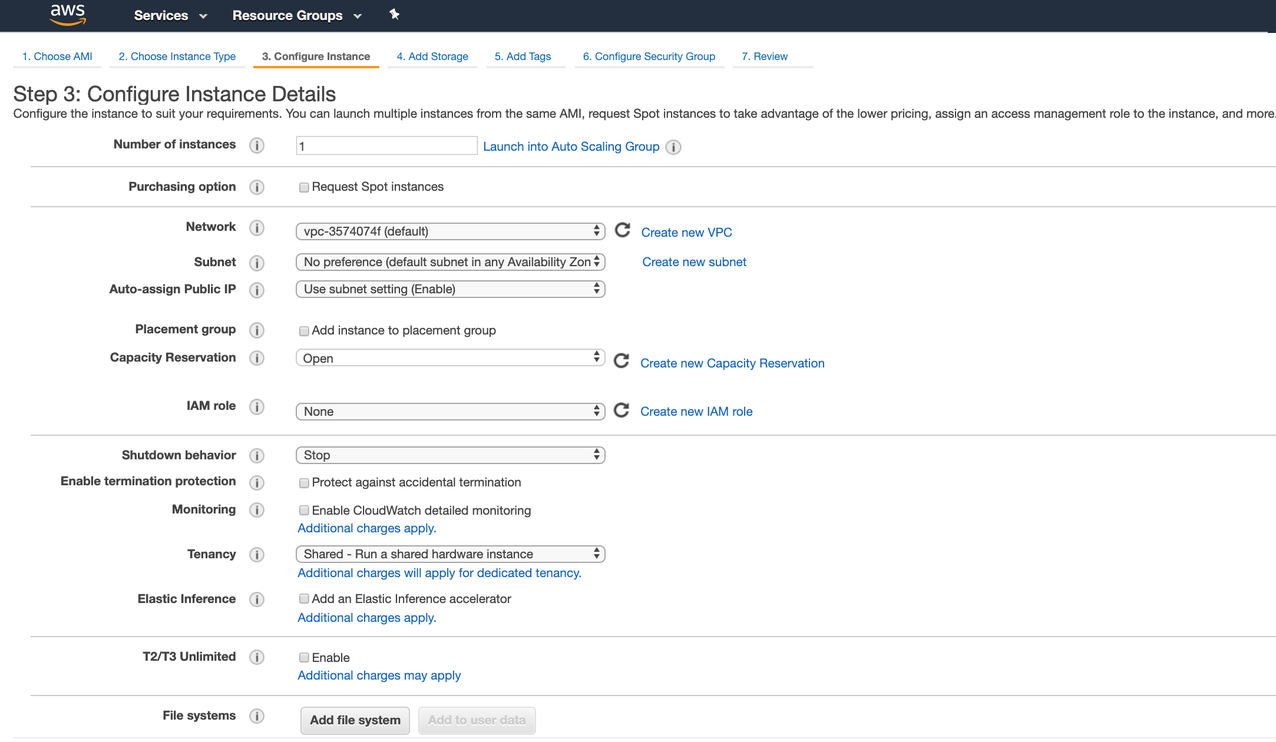 Ec2 Launch Instance Wizard - step 3 configure instance details (top of page)
