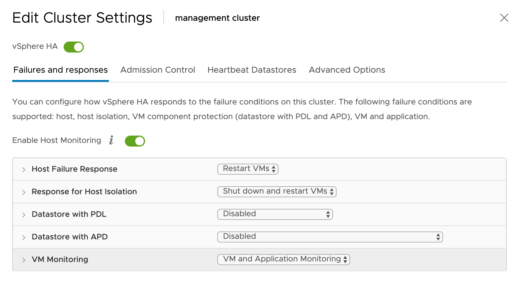 """Edit Cluster Settings"" dialog box, select the ""Failures and responses"" tab to configure how vSphere will respond to VM failures."