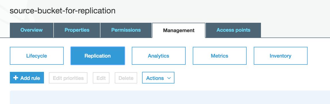 [管理] タブに移動して [レプリケーション] オプションを選択します