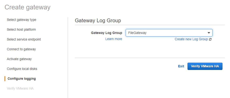 Figure 24. Select Gateway Log Group