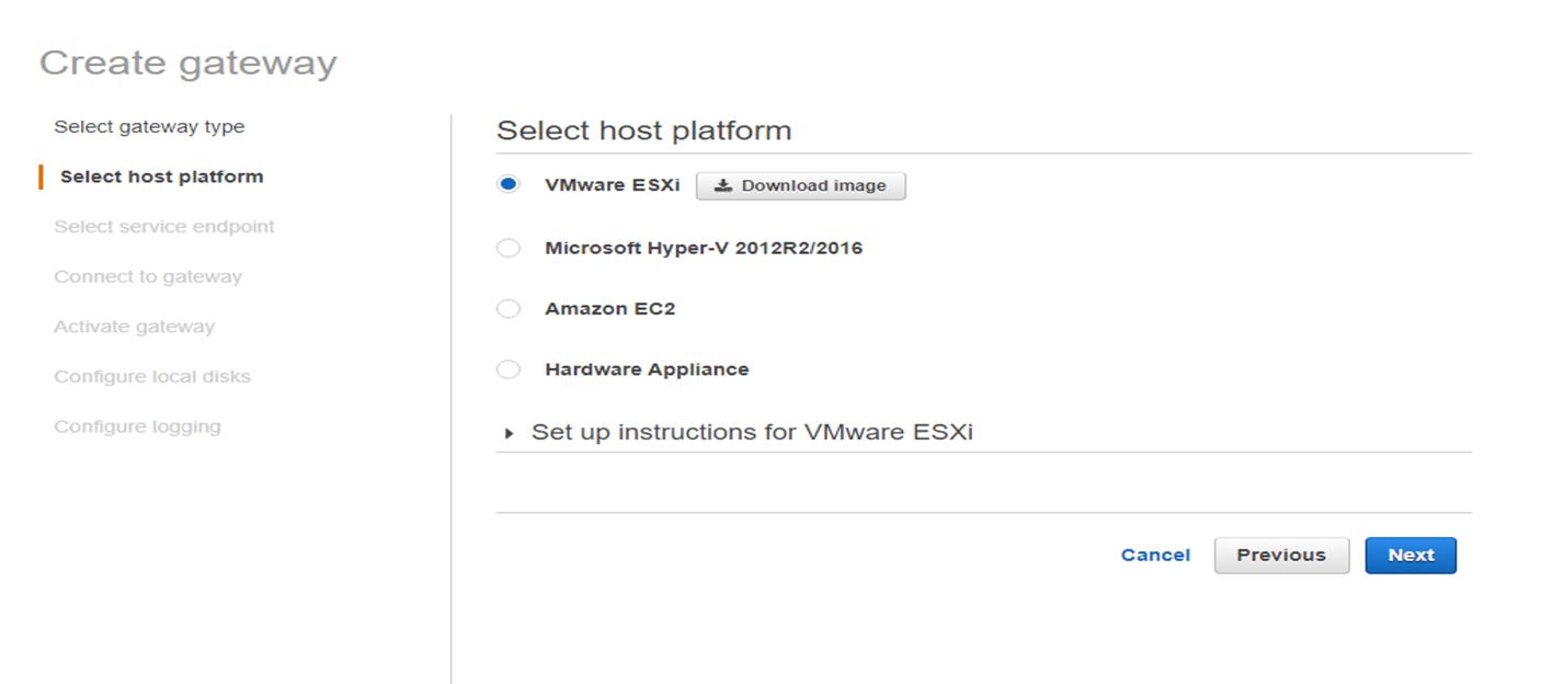 Figure 3. Selecting host platform