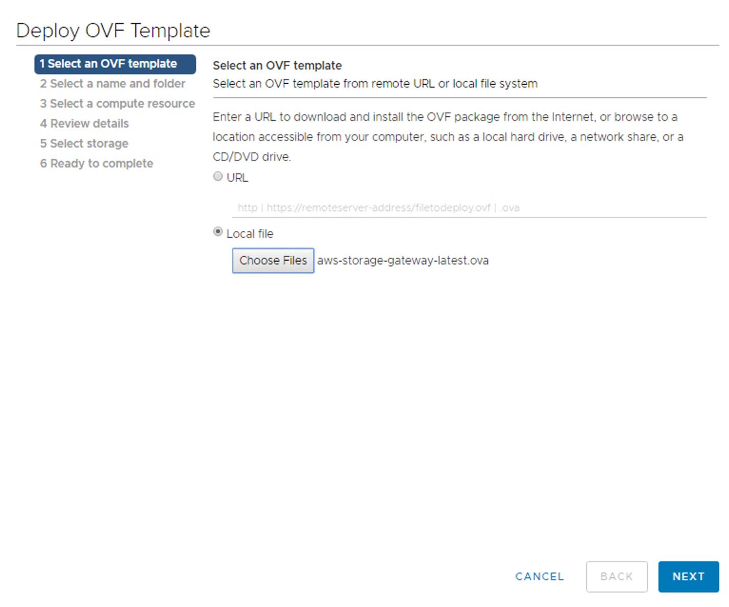 Figure 5. Deploy OVF Template