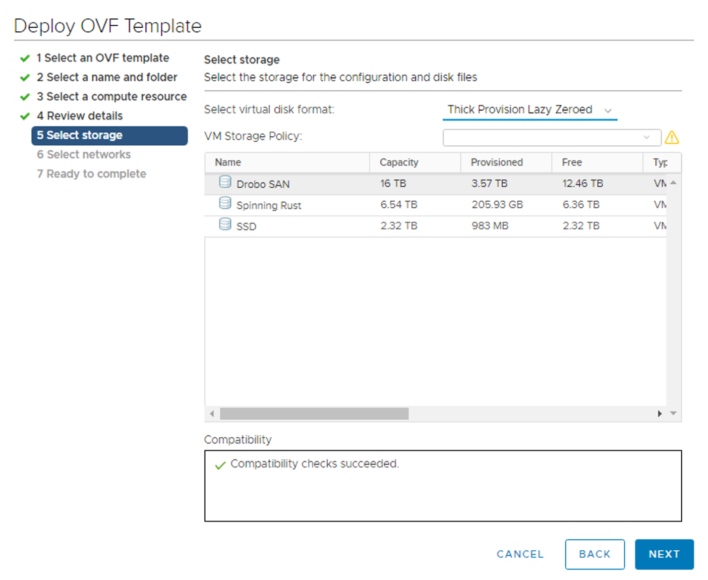 Figure 9. Selecting storage for the VM