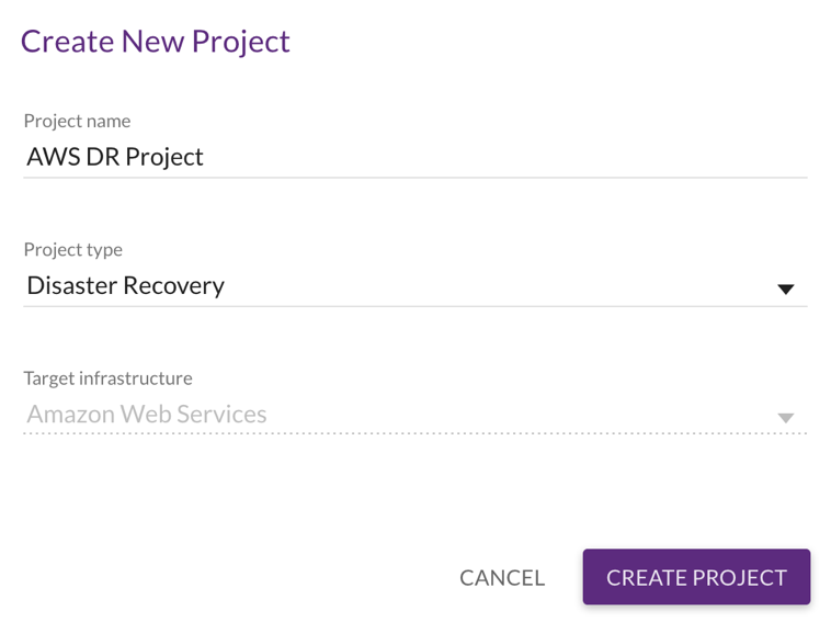 Create and configure your Disaster Recovery Project