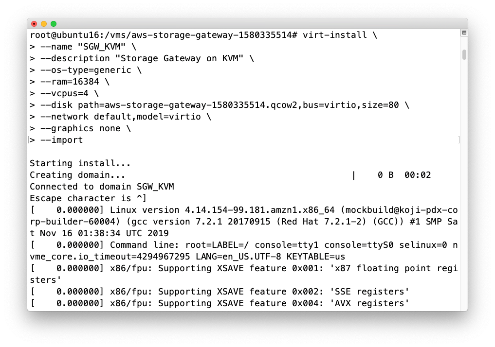 Alternately, the screenshot below shows how to manually install the Storage Gateway VM with your own parameters and settings such as different memory or vCPU allocation.