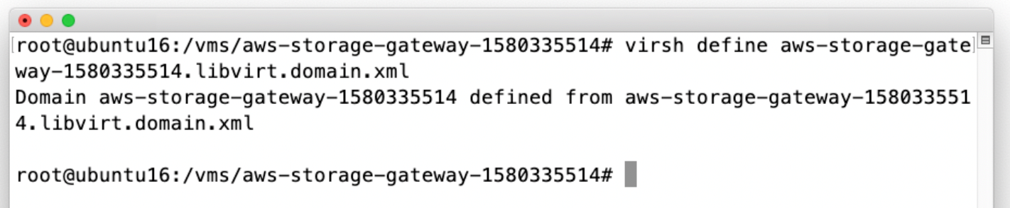 The following screenshot shows how you can use the included domain XML file to define your Storage Gateway VM.