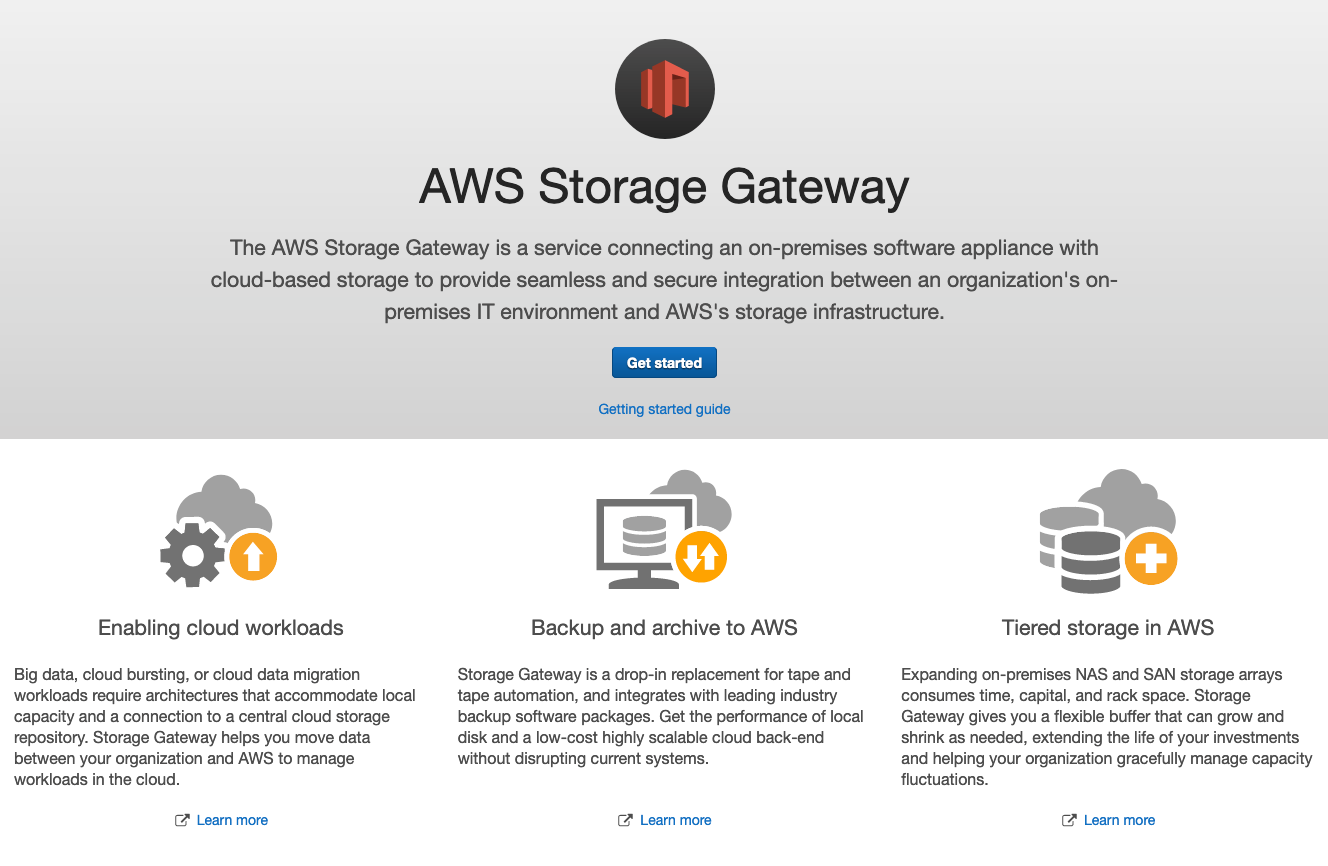 To get started with using Storage Gateway on KVM, log into your AWS Management Console and search for Storage Gateway.