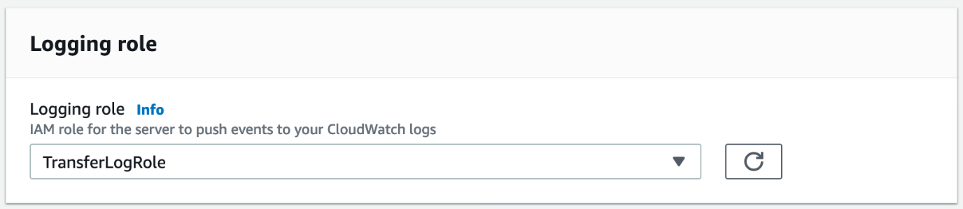 """When you get to the """"Create an SFTP Server"""" step, configure the logging role to make sure that the service sends the logs to a CloudWatch Logs stream."""