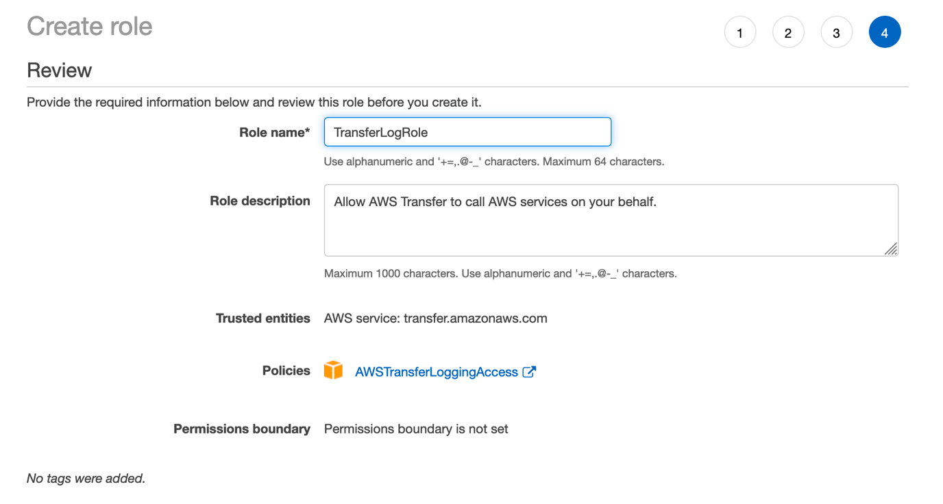 You can create your own policy from scratch or use the AWS managed policy AWSTransferLoggingAcess