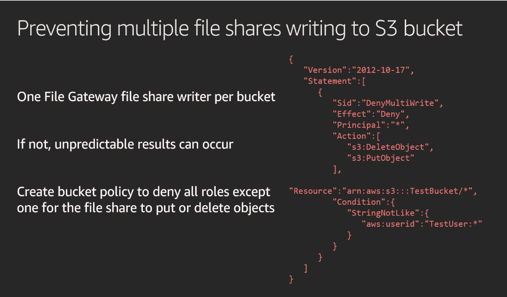 Preventing multiple file shares writing to an S3 bucket