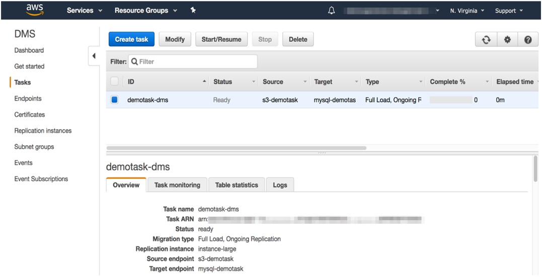 As a result, two tasks are created, which you can see in the AWS SCT UI and DMS console (2)