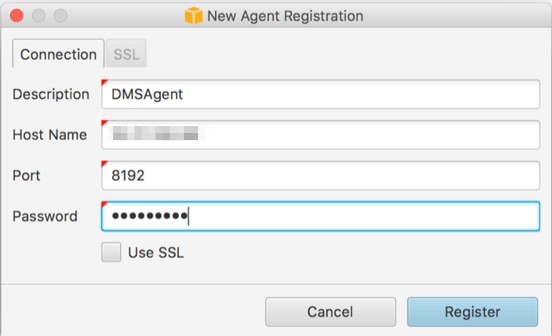 Specify the IP address of the host, the port number, and the password used for the AWS DMS replication agent configuration.