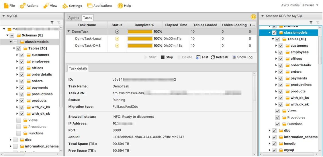 アプリケーションは、AWS の新しいデータベースをポイントできるようになりました。