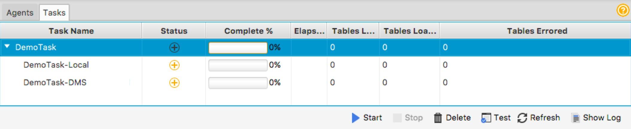 AWS SCT タスクタブでテストを選択することで、ステージング S3 バケットとターゲットデータベースへの接続をテストします
