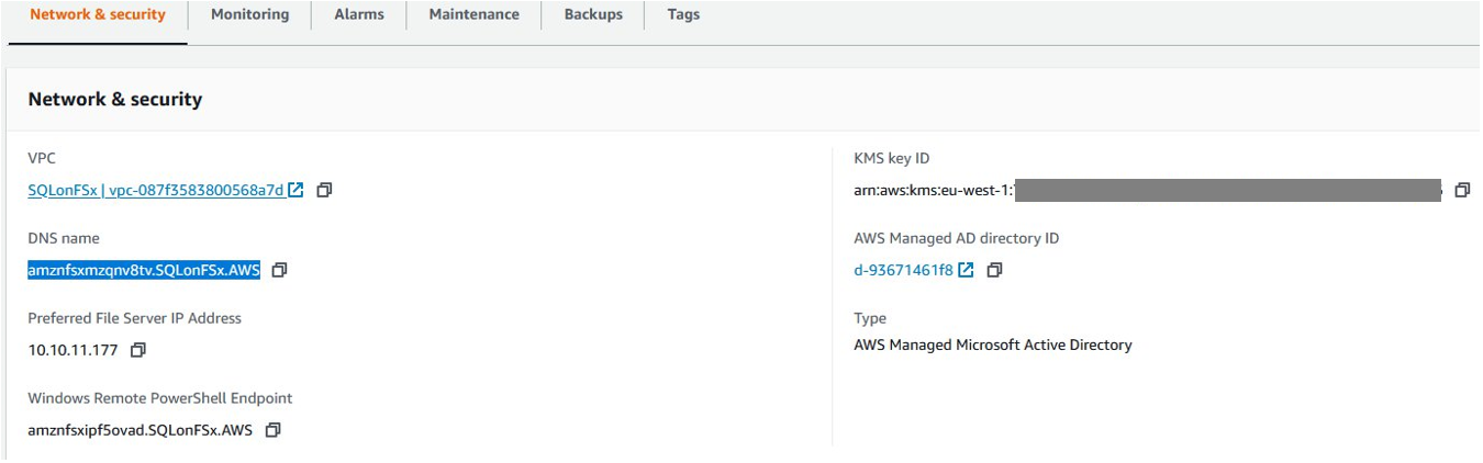 On the Amazon FSx Console, navigate to your file system's details screen and identify the DNS name of your file system