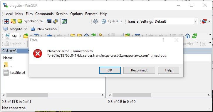 SFTP サーバーのホスト名を使用して、優先する SFTP クライアントを使って接続を試みます。この時点で、タイムアウトが発生します
