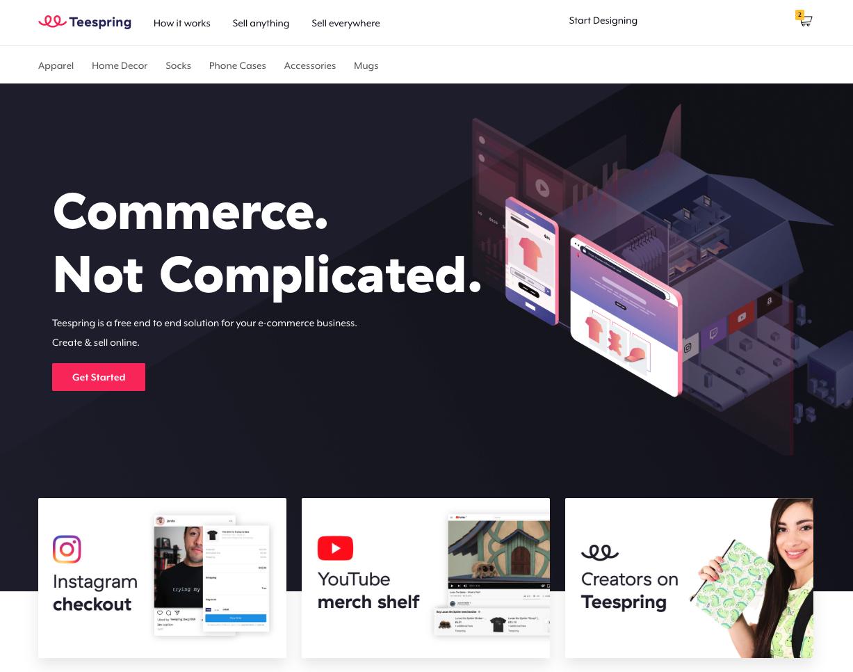 Teespring website homepage